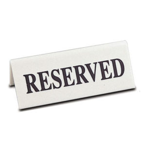 Table Numbers & Reserved Signs